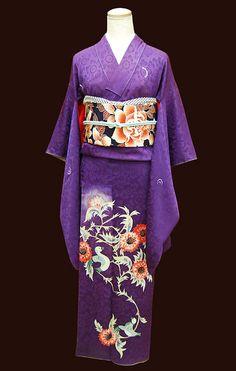 Irotome Cute Japanese, Japanese Kimono, Japanese Outfits, Japanese Fashion, Kimono Japan, Wedding Kimono, Japanese Wedding, Japanese Patterns, Purple Fashion