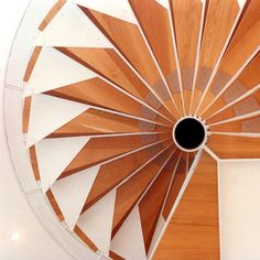 Looking up at a spiral stair in Architect Gunter Behnisch's Museum für Kommunikation, formerly the German Postal Museum, located of Frankfurts Museumsufer district