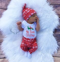 2154778555090 Unisex Christmas Outfit,My First Christmas,Baby, Girl Coming home outfit,Boy  Coming Home Outfit,Bears,Trees,Deer,Red and White,Country
