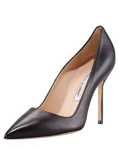 Shop Manolo Blahnik shoes at Neiman Marcus. Get a first look into what's next in fashion with these stark slide sandals and patterned pumps. Manolo Blahnik Heels, Pretty Shoes, Fancy Shoes, Fashion Heels, Pointed Toe Pumps, Bergdorf Goodman, Leather Pumps, Black Leather, Black Pumps