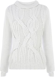 Karen millen Extreme Cable Knit Sweater in White (Grey)