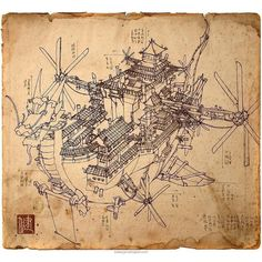 Awesome #airship #blueprint #sketch #illustration by James Ng (@jamesngart ) of an #Imperial Airship. That #figurehead on this #dragonboat is amazing and all the #Chinese #palace #architectural designs look great. If you look closely you can really see how the buildings are actually a #castle or #royal #palace. Reminds me a bit of the #flying fortresses in #Nintendo's #SuperMarioBros3... Great looking #propellers and #fins on the #flyingship and the #roof tiles add some amazing detail to…
