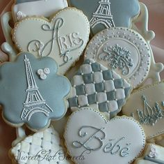 Paris Baby cookies 1 dozen Paris baby shower by SweetArtSweets Fancy Cookies, Vintage Cookies, Cute Cookies, Royal Icing Cookies, Cupcakes, Cupcake Cookies, Sugar Cookies, Paris Baby Shower, Iced Biscuits