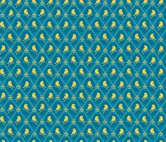 Goldfinch and Fleur de Lis fabric by glimmericks on Spoonflower - custom fabric in Modern Jersey $26.50/yd, $5 test swatch - for A-line or skater dress, + teal corset one side + yellow velvet corset reverse side with yellow satin trim.