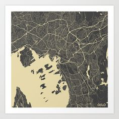 Oslo Map Art Print by Map Map Maps - $18.00---------------------------If you like my work, you can folllow my Facebook account : https://www.facebook.com/MapMapMaps