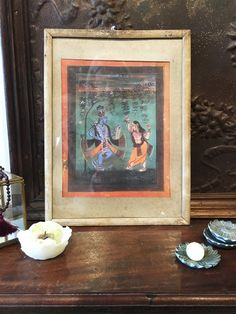 Radha and Krishna Dancing Under a Tree- Antique Indian Devotional Art Print