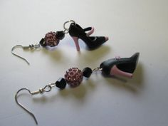 Black and Pink  Barbie shoe earrings  with Surgical Steel wire  / ITEM 1485