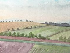 Tuscan fields - Original Watercolour Landscape Painting