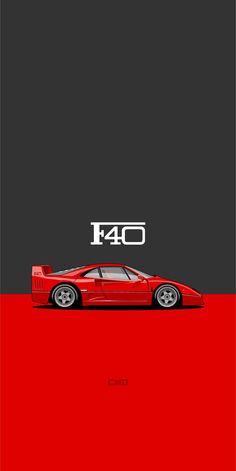 Car Iphone Wallpaper, Logo Wallpaper Hd, Car Wallpapers, Cellphone Wallpaper, Cool Car Stickers, Car Illustration, Illustrations, Ferrari F40, Japan Cars