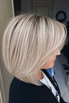 This platinum blunt bob hair with shadow roots created by Partner L'Oréal Professionnel Gulevich Vladimir (@gulevich.vladimir) is great for you if you have an oval, square, or heart-shaped face. Hit that link to discover more blunt bob haircuts and hairstyles. #bluntbobhaircuts #bluntbobhairstyles