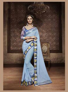 Light Blue Georgette Saree With Designer Blouse 83106