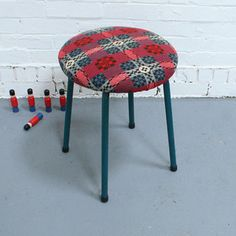 Vintage Stool In Welsh Tapestry, £72, now featured on Fab.