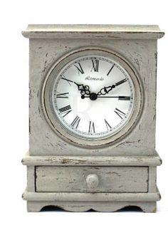 Vintage Effect Grey Clock 21.5cm @ rosefields.co.uk