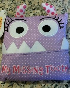 Girl's Monster Tooth Fairy Pillow Pouch Purple Alma's Designs