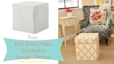 From Ikea Footstool to Custom Made Storage Ottoman!