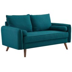 The Modway Revive Upholstered Fabric Sofa blends modern design with a laid-back vibe to give your home a stylish piece of furniture. Fabric Sofa, Sofa Pillows, Sectional Sofa, Sofas, Couches, Teal Fabric, Sofa Upholstery, Black Furniture, Modern Furniture