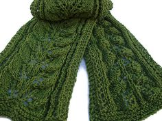 Womens Knit Scarf Green Lightweight Leaf Design by CherylsKnits