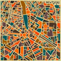 Jazzberry-abstract-city-map-NewDelhi Toronto-based self-taught artist Jazzberry Blue has created this series of abstract city map posters, the series features different cities and capitals…
