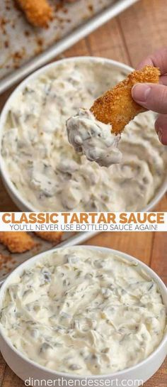 Classic Tartar Sauce made with just a few ingredients and in just a few minutes, you'll free up space on your fridge door and never buy bottled sauce again! dinner fish Easy Tartar Sauce (BETTER than bottled in 2 mins!) - Dinner, then Dessert Sauce Recipes, Fish Recipes, Seafood Recipes, Appetizer Recipes, Cooking Recipes, Seafood Appetizers, Dinner Recipes, Fish Dishes, Desert Recipes