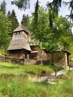 Rare Wooden Church in open-air museum of Orava Village, Slovakia. This open-air museum shows typical folk architecture of Slovak rural communities and their life stile in 19th and early 20th century. Museum of Slovak village is located in Zuberec, Slovakia. It is opened for public and it is definitely worth a visit.
