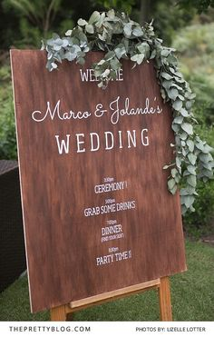 DIY wooden wedding program