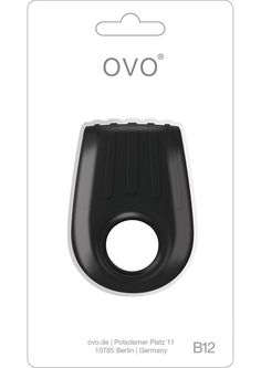 OVO B12 VIBRATING RING BLACK - The German Designed B12 Pleasure Ring from ovo is rounded for comfortable use and features a innovative double band style.  The B12 is showerproof, whisper quiet and constructed of lead-free, phthalate-free, 100% body-safe silicone material.