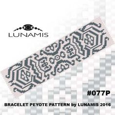 Peyote bracelet pattern, peyote pattern, stitch pattern, pdf file, pdf pattern, #077P by LunamisBeadsPatterns on Etsy