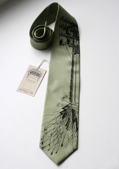 Transformer, screenprinted sage necktie with black ink birds, rabbits, wire and electric pole. Standard or narrow width.. $30.00, via Etsy.