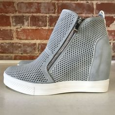 e5bbcca58d Pumped Up Wedge Zipper Ash Blue Sneakers from Cousin Couture. Blue Sneakers,  Hoe,