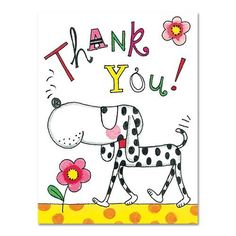 Spotty Dog Thank You Cards Thank You Images, Thank You Cards, Thank You Greetings, Spotty Dog, Art Corner, Cute Cats And Dogs, Watercolor Cards, Cute Illustration, Kids Cards