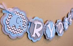 Elephant Chevron Stripe and Polka Dot NAME Banner Baby Light Blue and Gray Baby Shower Birthday Party Decorations Wedding Banner on Etsy, $26.00