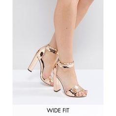 Lost Ink Wide Fit Rose Gold Heeled Sandals found on Polyvore featuring polyvore, women's fashion, shoes, sandals, gold, ankle tie sandals, block-heel sandals, wide fit heeled sandals, metallic sandals and wide width sandals