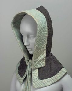 MFA Woman's silk winter hood civil war era fashion
