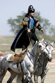"""A Kazakhstan performer demonstrates the long equestrian heritage as part of the gala concert during the opening ceremonies of Central Asian Pescekeeping Battalion (CENTRASBAT) 2000, Almaty, Kazakhstan,"""