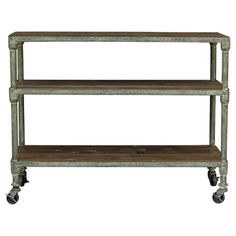 Reclaimed pine bar cart with castered feet.   Product: Bar cartConstruction Material: Reclaimed natural pine pla...