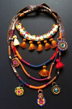 textile necklace with beads