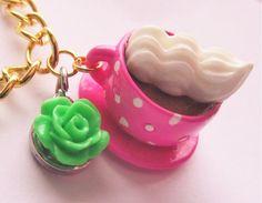 PINK LATTE PENDANTPink Polka Dot Teacup Chain