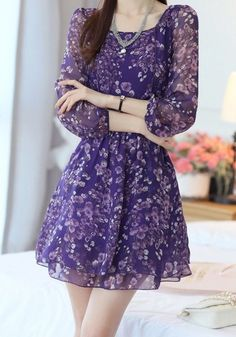 Trendy Style Scoop Neck Floral Print Long Sleeve Chiffon Dress For Women Day Dresses, Cute Dresses, Beautiful Dresses, Short Dresses, Long Sleeve Chiffon Dress, Chiffon Dresses, Short Frocks, Frock For Women, Marie