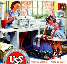 Sewing with Mommy ~ 1947 Steel ad.