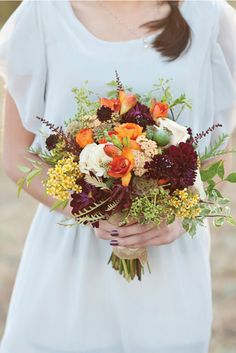 sophisticated rustic wedding flowers -- love this color combo -- would give you a chance to do something dramatic for color