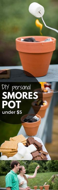 DIY personal smores pots are perfect for backyard entertaining or summer smore parties when you don't have a fire pit