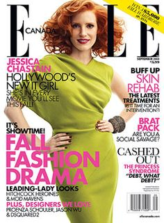 September 2011's cover with Hollywood's new it girl Jessica Chastain.