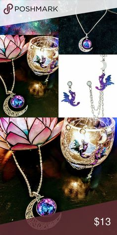 Mystic Moon Dragon Jewelry Bundle All practically new!  ~Blackheart opalescent ombre dragon cuff with moon stud, chain, and matching dragon dangle  ~mystic galaxy Celtic crescent moon necklace (not HT)   Punk, Goth, Gothic, witch, witchy. Hot Topic Jewelry
