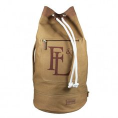 CANVAS DUFFEL BAG WITH LEATHER TRIM