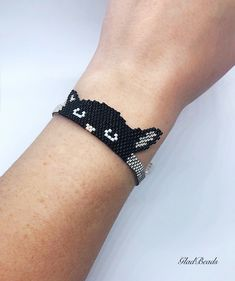 Excited to share the latest addition to my shop: Black cat head peyote beaded bracelet black Silver Best gift idea for women girls mother wife sister girlfriend Beaded Earrings, Beaded Jewelry, Silver Jewelry, Silver Ring, Hoop Earrings, Jewelry Findings, Jewelry Necklaces, Bridal Jewelry, Silver Earrings