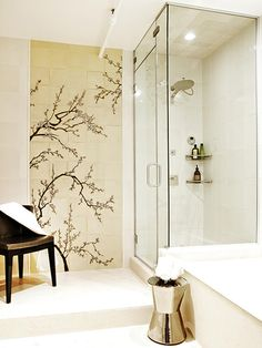 12 Designer Bathrooms for Less : Rooms : HGTV I need to research where to get tiles like that :)