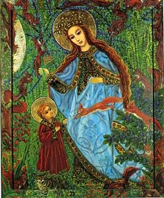 Image detail for -in poland the holy mother as a healer gathers herbs in the forest ...