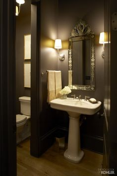 KOHLER Bancroft pedestal sink and faucet, Venetian mirror, Thomas O'Brian Vendome Sconces