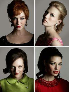 Mad Men style. Celeste - Joan hair (top left). Callie - Peggy hair (bottom left).
