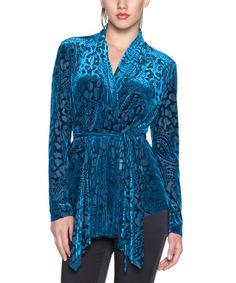 Another great find on #zulily! Petroleum Paisley Tie-Waist Wrap Blouse by Elfe #zulilyfinds